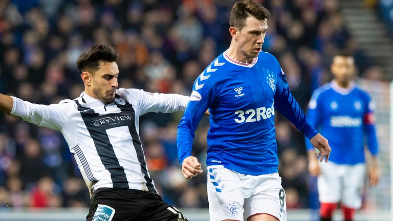 St Mirren's Ilkay Durmus in action with Rangers' Ryan Jack