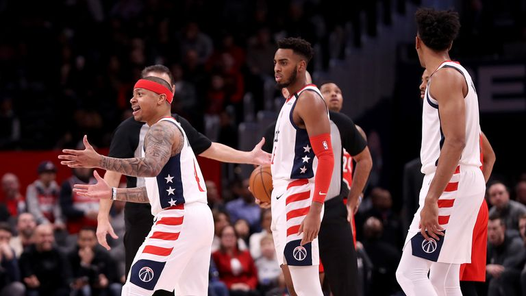 Isaiah Thomas #4 of the Washington Wizards reacts after being ejected during the first quarter against the Portland Trail Blazers at Capital One Arena on January 03, 2020 in Washington, DC.
