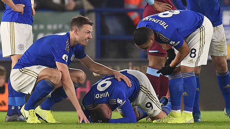 Vardy was injured against West Ham on January 22