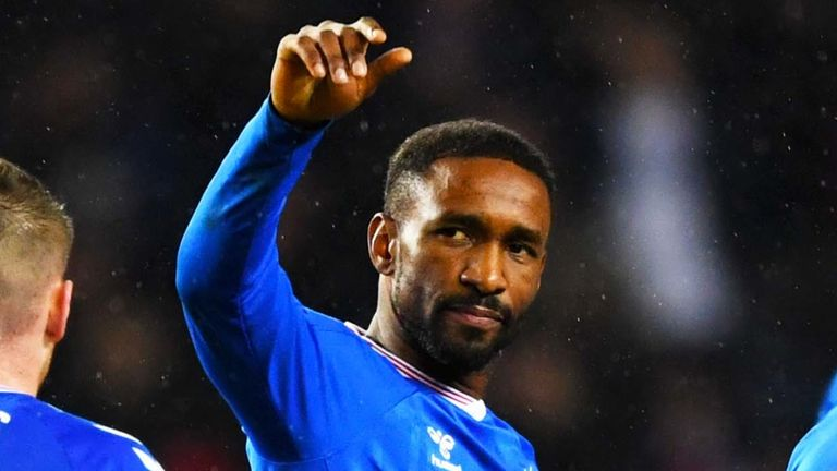 Jermain Defoe celebrates after scoring to make it 1-0 to Rangers against Ross County