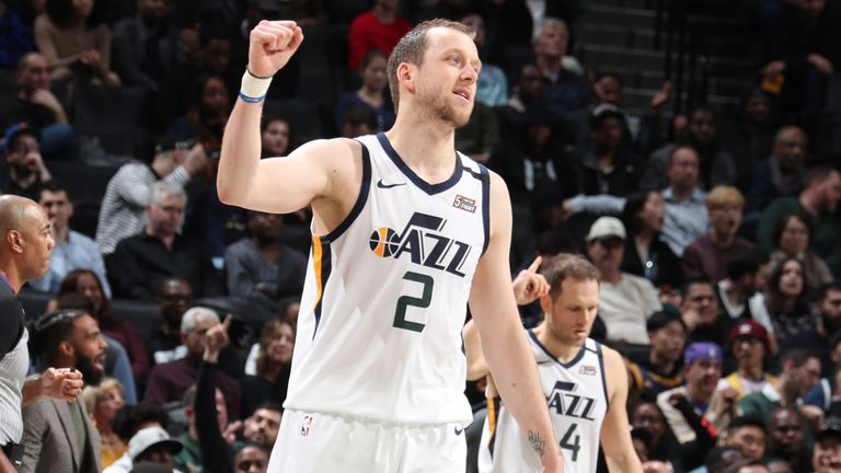 Ingles celebrates a play against the Nets