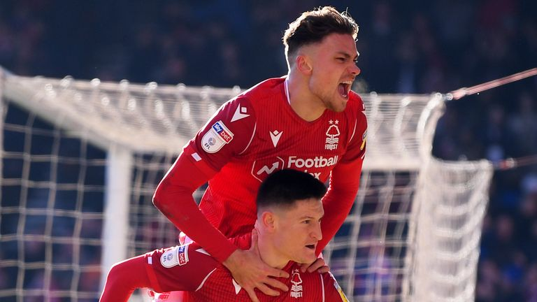 Joe Lolley celebrates with Matty Cash after scoring for Forest