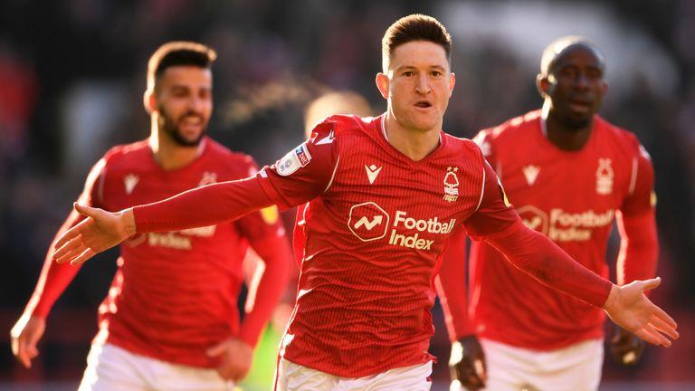 Joe Lolley celebrates scoring Nottingham Forest's second goal against Luton
