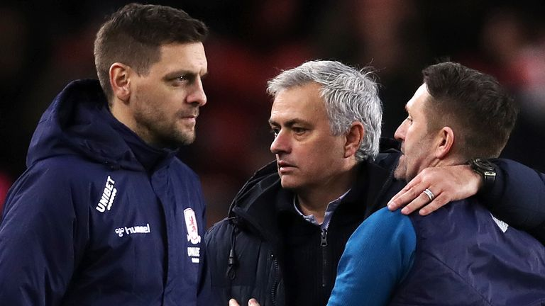 Woodgate (L) and his assistant Robbie Keane (R) with Jose Mourinho