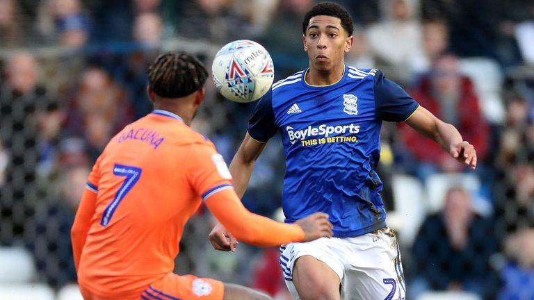 Jude Bellingham of Birmingham City in action vs Cardiff
