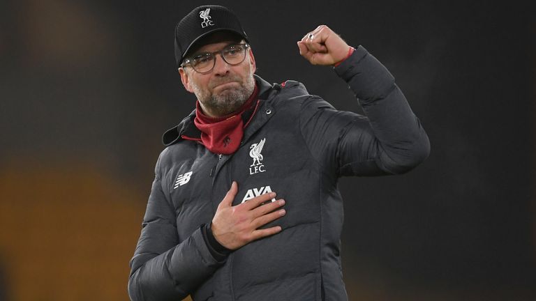 Jurgen Klopp celebrates Liverpool's win at Wolves