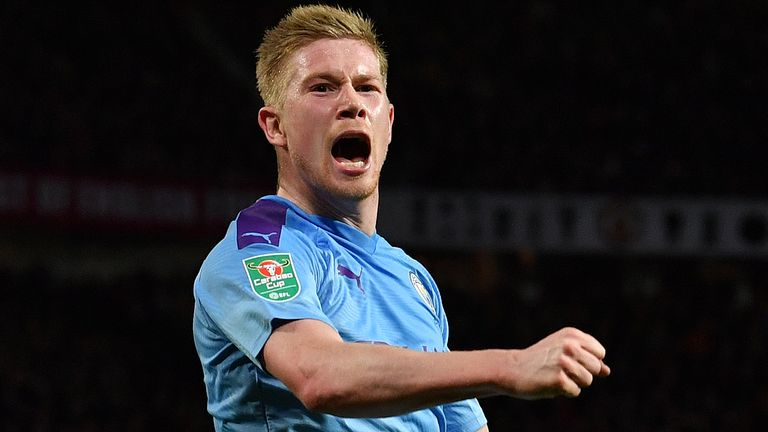 Manchester City's Belgian midfielder Kevin De Bruyne celebrates scoring his team's third goal during the English League Cup semi-final first leg football match between Manchester United and Manchester City at Old Trafford in Manchester, north west England on January 7, 2020.