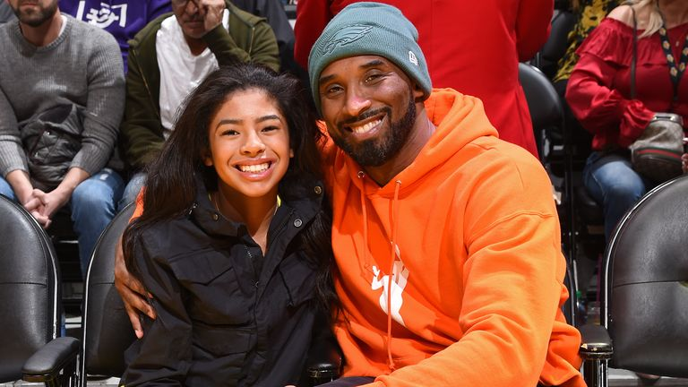 Kobe Bryant and daughter Gianna attend the NBA game between the Los Angeles Lakers and the Dallas Mavericks on December 29, 2019