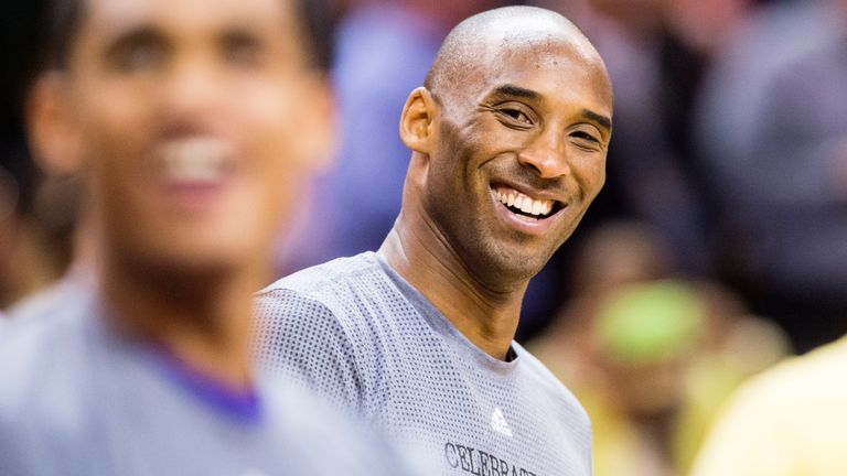 Kobe Bryant warming up prior to a game against the Cleveland Cavaliers in 2016