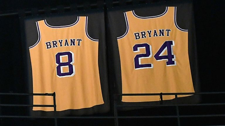 Kobe Bryant's retired No 8 and No 24 jerseys hang in Staples Center