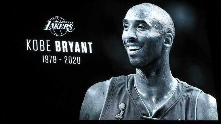 A tribute to Kobe Bryant is displayed at the American Airlines Arena in Dallas
