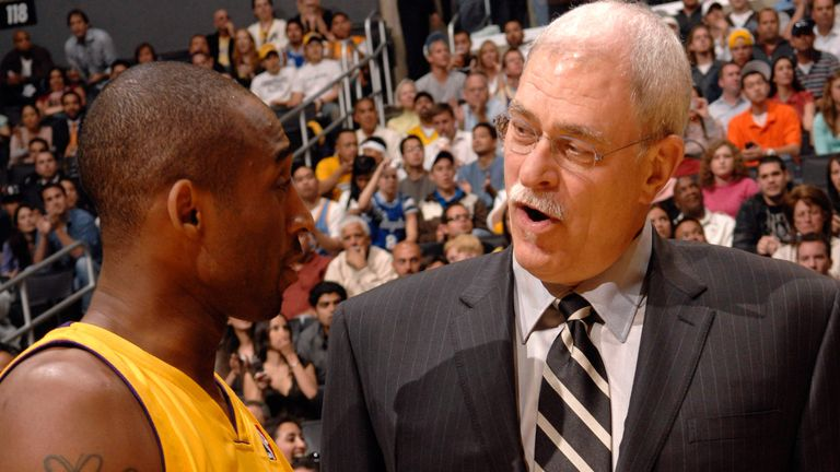 Phil Jackson and Kobe Bryant exchange words on the Lakers sideline