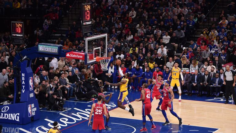 LeBron James #23 of the Los Angeles Lakers shoots the ball to pass Kobe Bryant for third on NBA's all-time scoring list during a game against the Philadelphia 76ers on January 25, 2020 at the Wells Fargo Center in Philadelphia, Pennsylvania