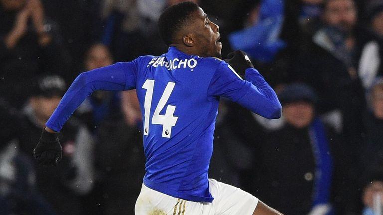 Kelechi Iheanacho celebrates scoring the equaliser for Leicester