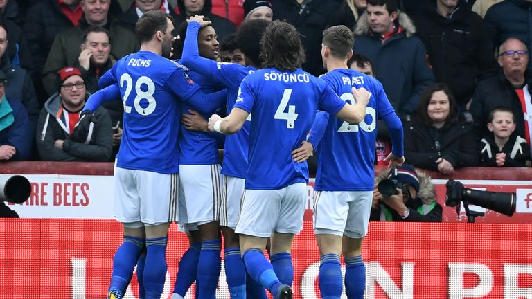 Leicester celebrate taking the lead at Brentford