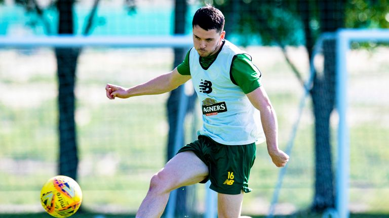 Celtic's Lewis Morgan during a training session in Dubai