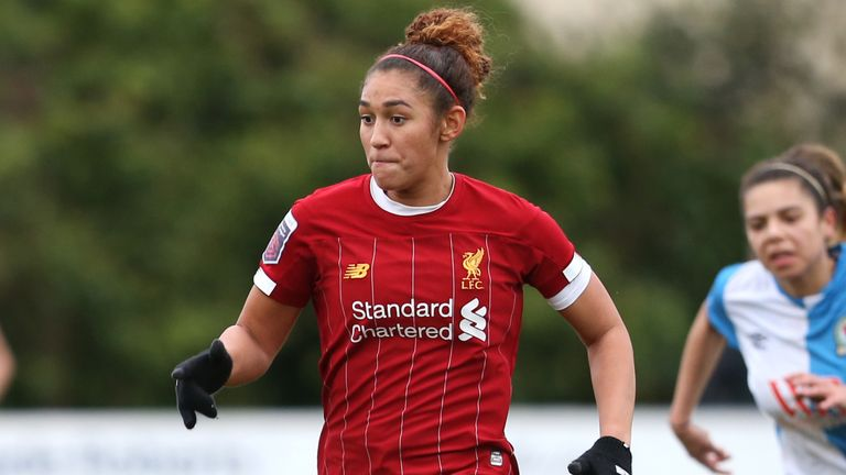 Jade Bailey in action for Liverpool in the FA Cup fifth round against Blackburn