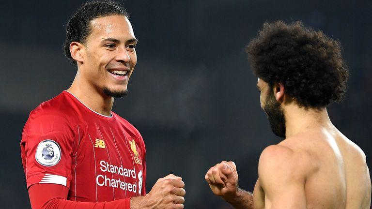 Mohamed Salah celebrates with Virgil van Dijk