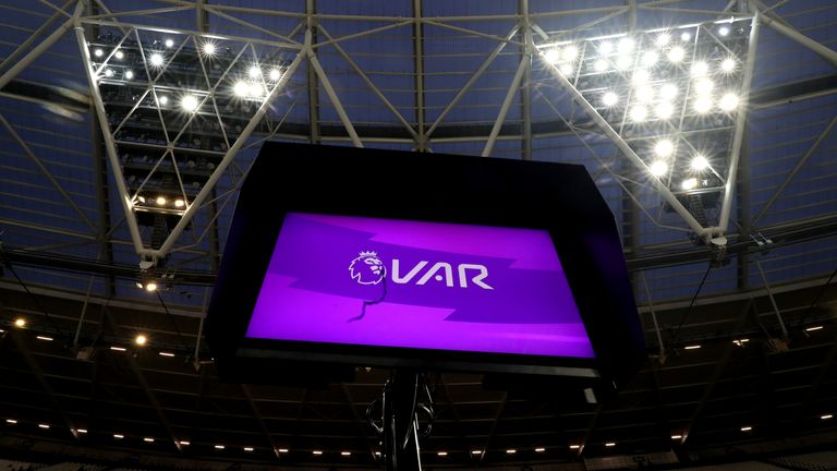 A general view of the VAR pitchside monitor at London Stadium