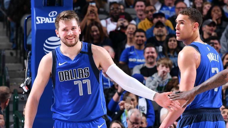 Luka Doncic of the Dallas Mavericks reacts to a play against the Chicago Bulls