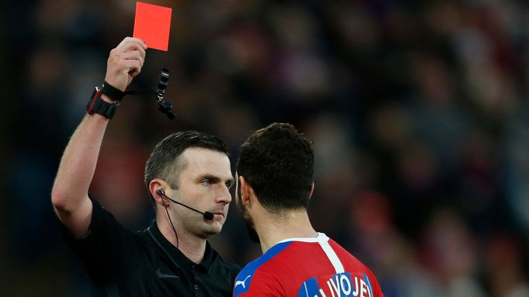 Crystal Palace midfielder Luka Milivojevic was sent off against Derby
