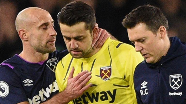Lukasz Fabianski hurt his hip during West Ham's defeat to Sheffield United
