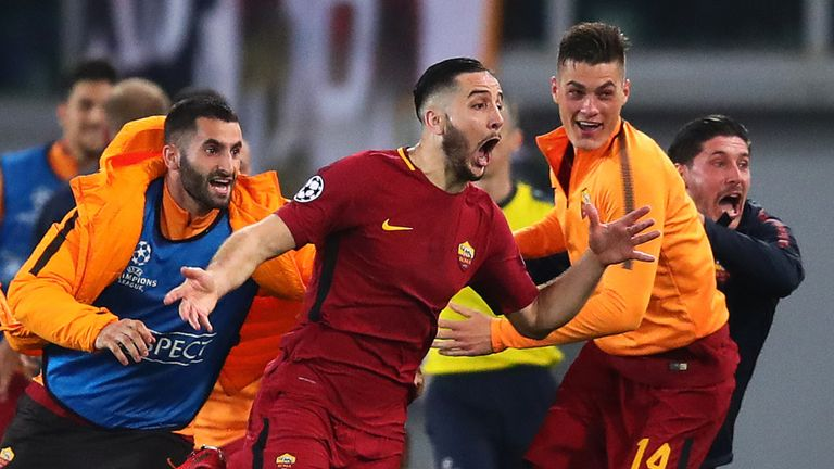 Kostas Manolas celebrates his goal as Roma knocked out Barca in 2018