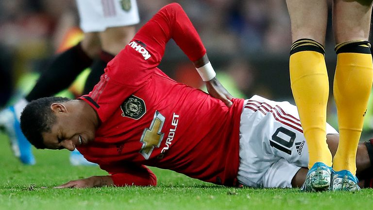 Marcus Rashford injured his back after coming on as a substitute against Wolves