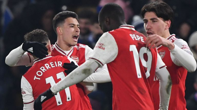 Gabriel Martinelli scored Arsenal's first goal from a blistering counter-attack