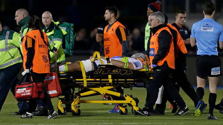 Fatialofa is stretchered from the field against Saracens in January