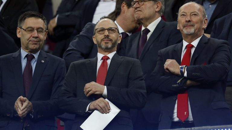 FC Barcelona president Josep Maria Bartomeu, Liverpool FC director Mike Gordon, Liverpool CEO Peter Moore