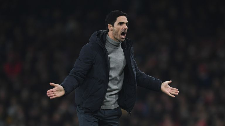 Arsenal Head Coach Mikel Arteta during the Premier League match between Arsenal FC and Manchester United at Emirates Stadium on January 01, 2020 in London, United Kingdom.