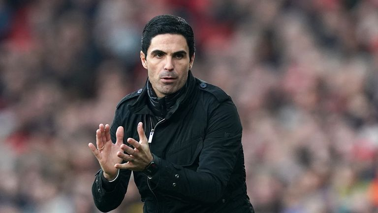 Arsenal manager Mikel Arteta on the touchline during the Premier League match against Chelsea at The Emirates Stadium