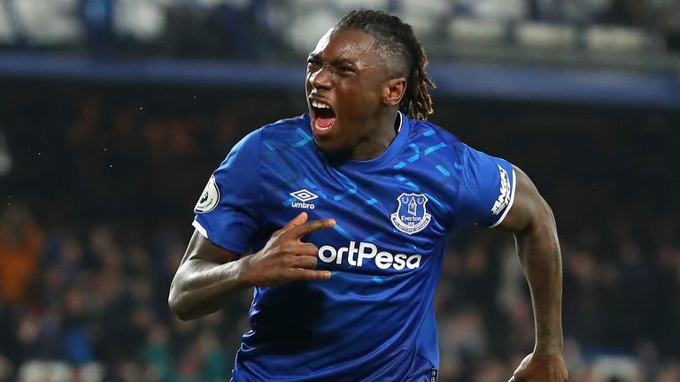 Moise Kean celebrates his goal against Newcastle