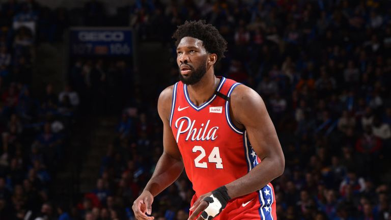 oel Embiid #21 of the Philadelphia 76ers, wearing #24 to honor Kobe Bryant, looks on during a game against the Golden State Warriors on January 28, 2020 at the Wells Fargo Center in Philadelphia, Pennsylvania