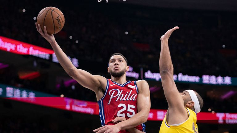 Ben Simmons #25 of the Philadelphia 76ers shoots the ball against Jared Dudley #10 of the Los Angeles Lakers in the second quarter at the Wells Fargo Center on January 25, 2020 in Philadelphia, Pennsylvania.