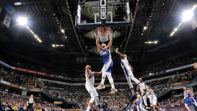 Ben Simmons #25 of the Philadelphia 76ers dunks the ball during the game against the Indiana Pacers on January 13, 2020 at Bankers Life Fieldhouse in Indianapolis, Indiana.