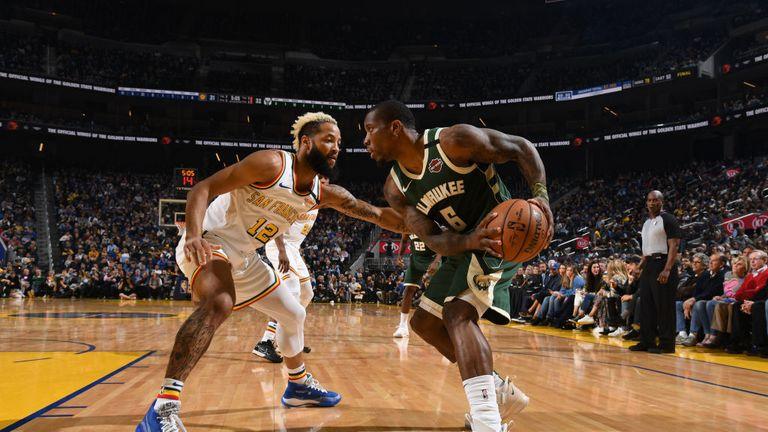 Eric Bledsoe #6 of the Milwaukee Bucks handles the ball against the Golden State Warriors on January 8, 2020 at Chase Center in San Francisco, California.