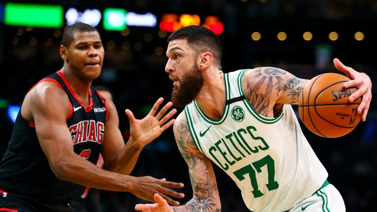 Vincent Poirier #77 of the Boston Celtics drives to the basket during a game against the Chicago Bulls at TD Garden on January 13, 2019 in Boston, Massachusetts.