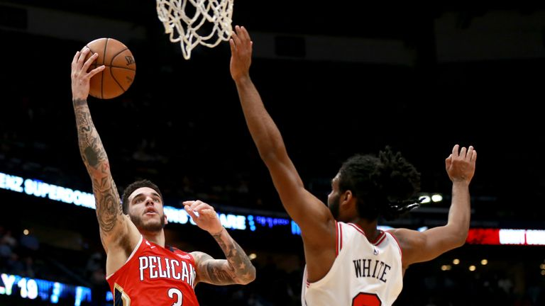 Lonzo Ball #2 of the New Orleans Pelicans shoots over Coby White #0 of the Chicago Bulls during a NBA game at Smoothie King Center on January 08, 2020 in New Orleans, Louisiana.