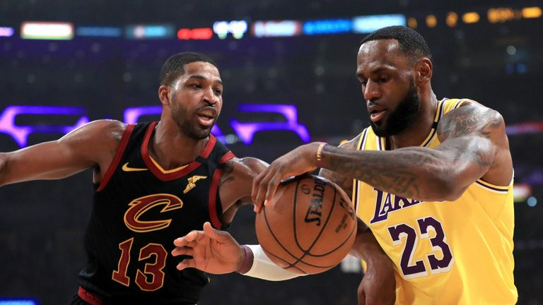 Tristan Thompson #13 of the Cleveland Cavaliers defends against LeBron James #23 of the Los Angeles Lakers during the first half of a game at Staples Center on January 13, 2020 in Los Angeles, California.