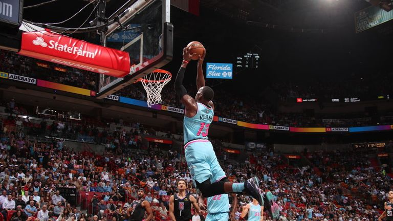 Bam Adebayo #13 of the Miami Heat drives to the basket during the game against the LA Clippers on January 24, 2020 at American Airlines Arena in Miami, Florida.