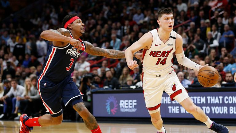 Tyler Herro #14 of the Miami Heat drives to the basket against Bradley Beal #3 of the Washington Wizards during the second half at American Airlines Arena on January 22, 2020 in Miami, Florida.