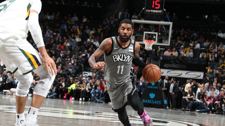 Kyrie Irving #11 of the Brooklyn Nets drives to the basket against the Utah Jazz on January 14, 2020 at Barclays Center in Brooklyn, New York.
