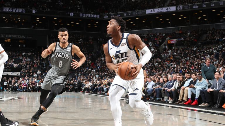 Donovan Mitchell #45 of the Utah Jazz drives to the basket against the Brooklyn Nets on January 14, 2020 at Barclays Center in Brooklyn, New York.
