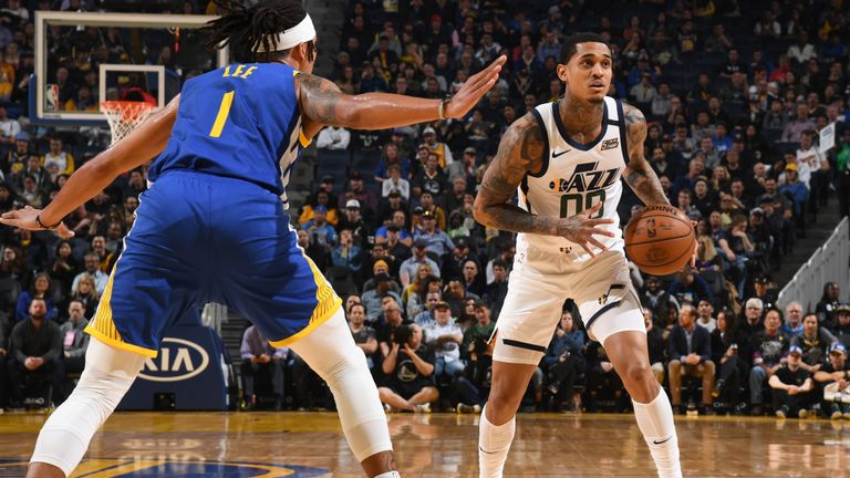 Jordan Clarkson #00 of the Utah Jazz handles the ball against the Golden State Warriors on January 22, 2020 at Chase Center in San Francisco, California.