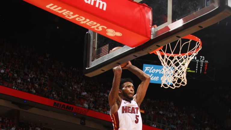 Derrick Jones Jr. #5 of the Miami Heat dunks the ball against the Toronto Raptors on January 2, 2020 at American Airlines Arena in Miami, Florida.