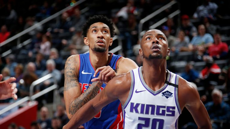Harry Giles III #20 of the Sacramento Kings and Christian Wood #35 of the Detroit Pistons on January 22, 2020 at Little Caesars Arena in Detroit, Michigan.