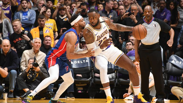Detroit Pistons against Los Angeles Lakers in the NBA