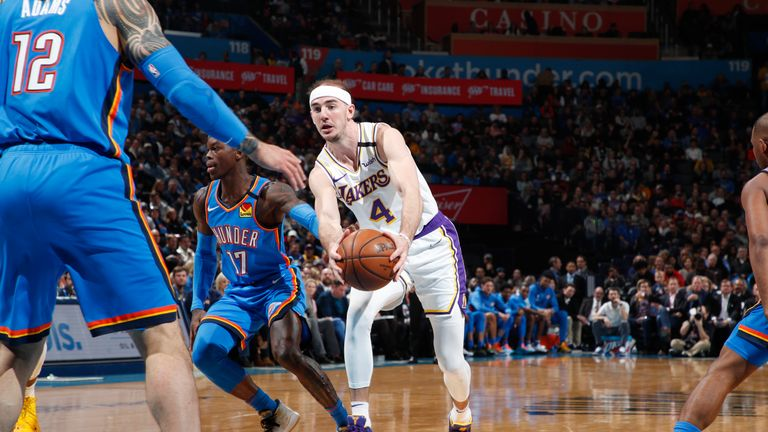 Alex Caruso #4 of the Los Angeles Lakers drives to the basket against the Oklahoma City Thunder on January 11, 2020 at Chesapeake Energy Arena in Oklahoma City, Oklahoma.